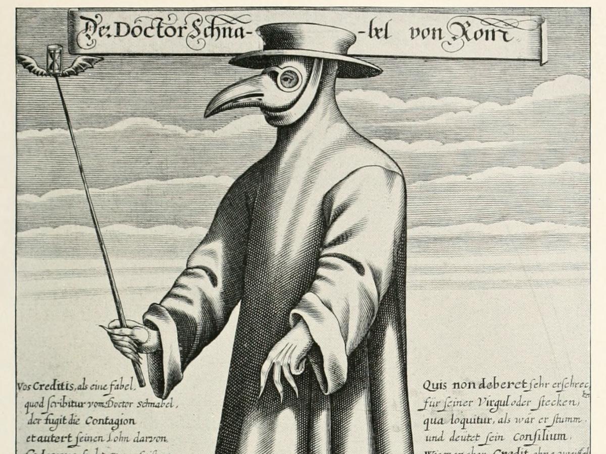 """Os médicos que tratavam a """"Peste Negra"""" usavam um uniforme com uma máscara com """"bico de pássaro"""", achando que ficariam imunes a peste que se propagou por todo o mundo durante a Idade Média."""